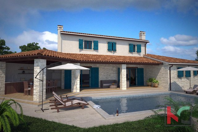 Kanfanar, new house 180m2 with swimming pool garden 800m2