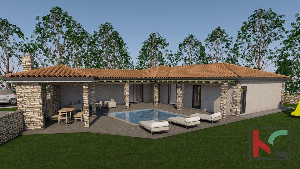 Muntić, Baugrundstück 840m2 mit Baugenehmigung für Villa mit Pool