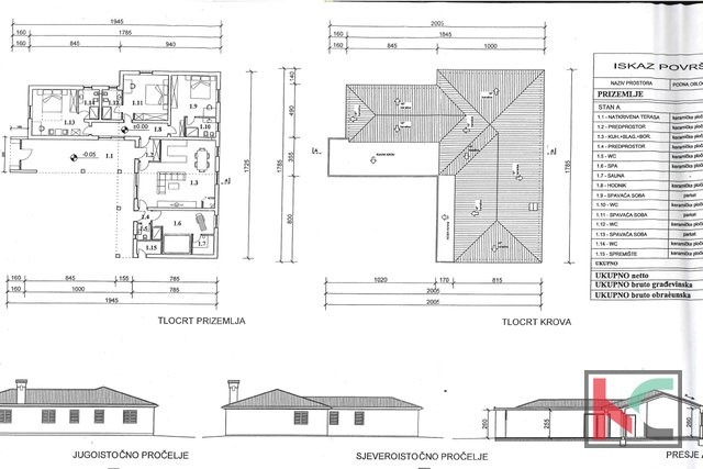 Muntić, building land 840m2 with building permit for villa with swimming pool
