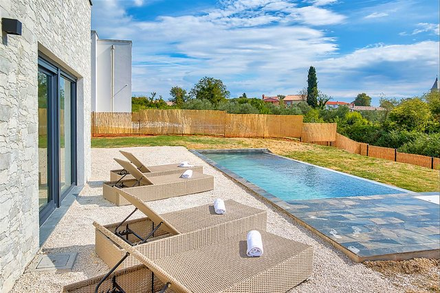Modern newly built villa in Krnica with pool and sea view