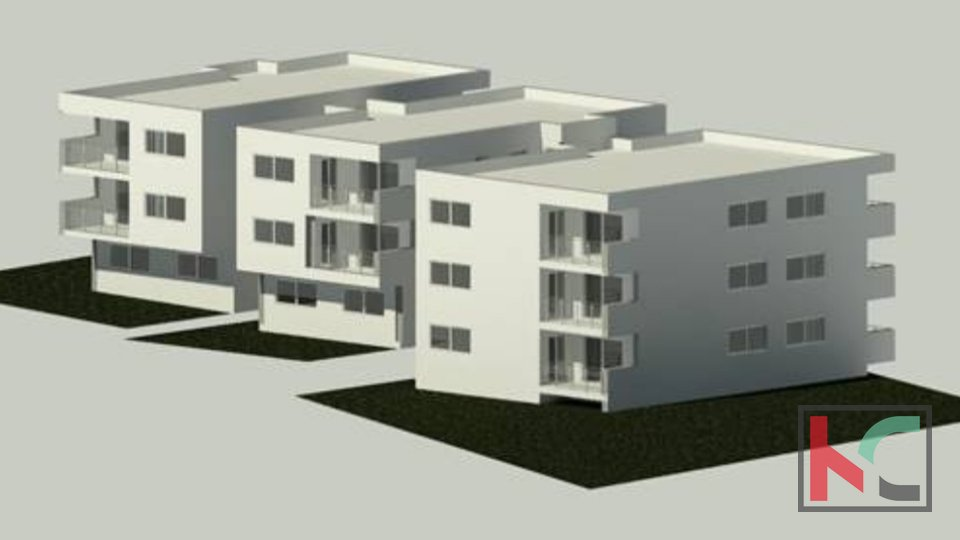Pula, Center, three bedroom apartment 61.62 m2 in a luxury new building