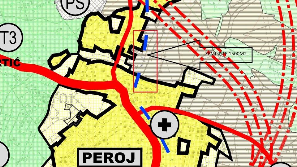 Istria - Peroj, land 1427m2 near the sea in the center of Peroj