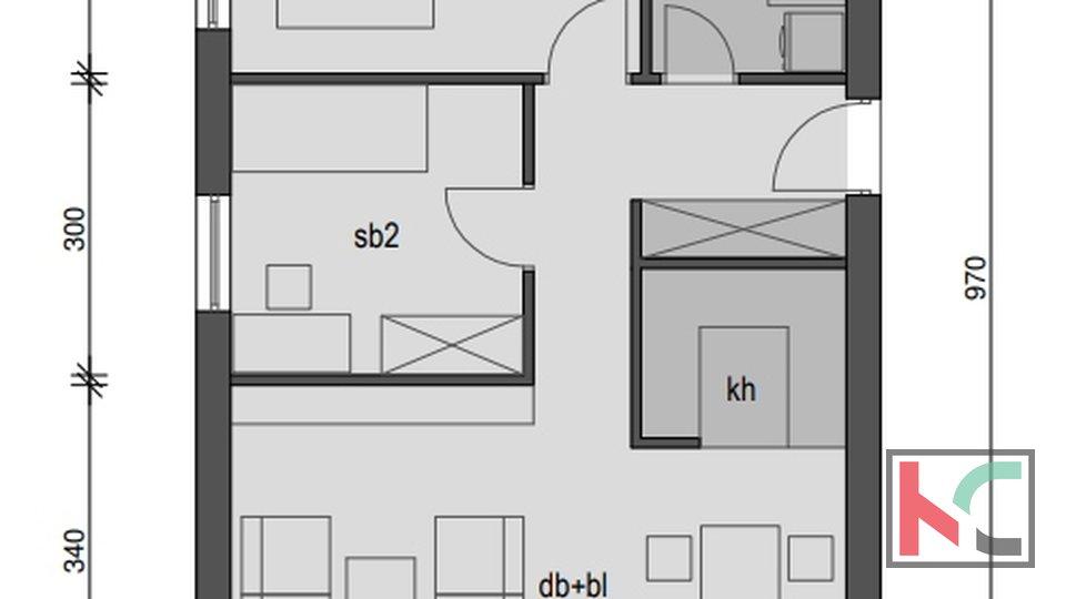 Pula, Veli Vrh, stan 59,10m2 u novogradnji sa 35m2 vrta