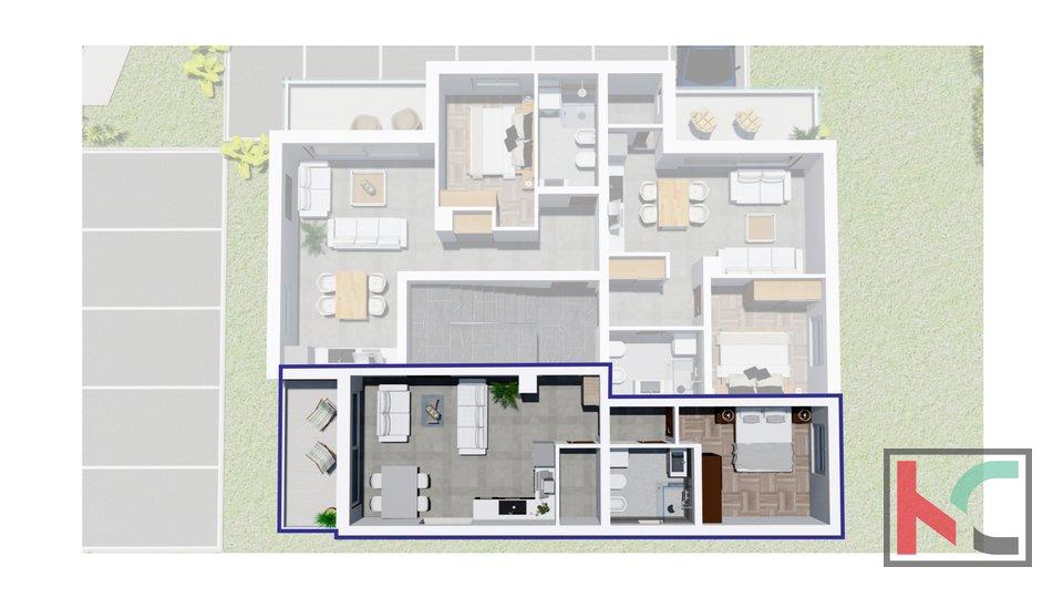Istria, Peroj, apartment 1R + LR in a new building