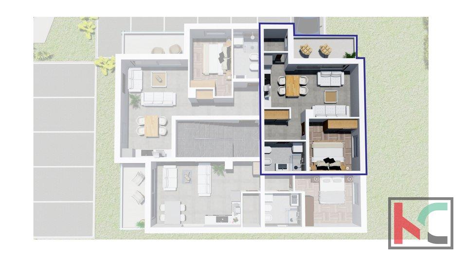 Istra, Peroj, stan 44m2 u modernoj novogradnji
