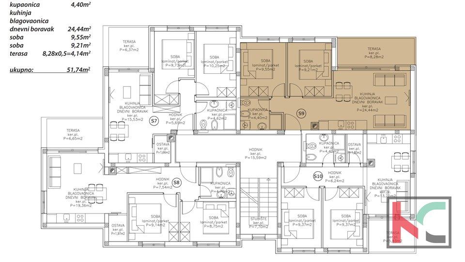 Istra, Peroj, dvosoban stan 51,74m2 u modernoj novogradnji