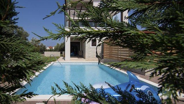 Fazana, Luxusvilla mit Pool, Panoramablick auf den Nationalpark Brijuni