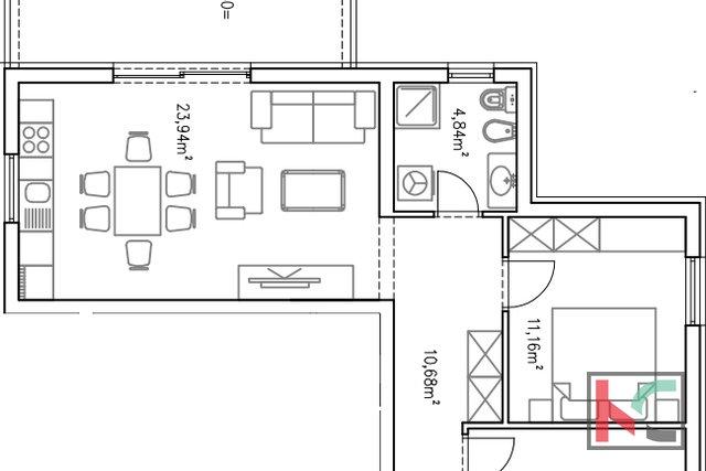 Istra, Barbariga, apartman 71,21m2 u novogradnji