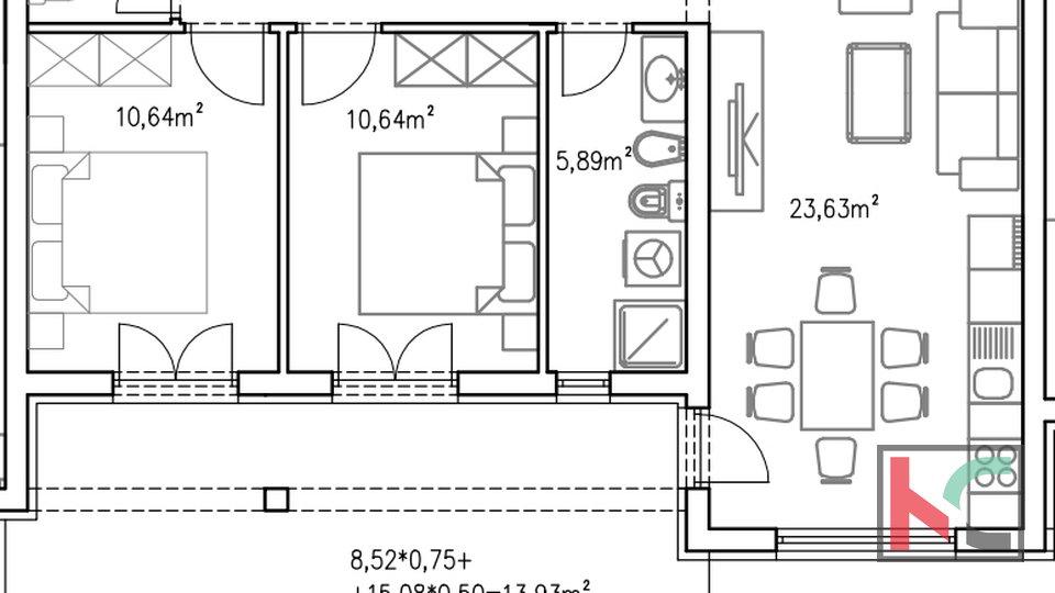 Istria, Barbariga, apartment 72,98 m2 in a new building