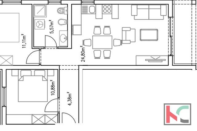 Istra, Barbariga, apartman 67,14m2 u novogradnji