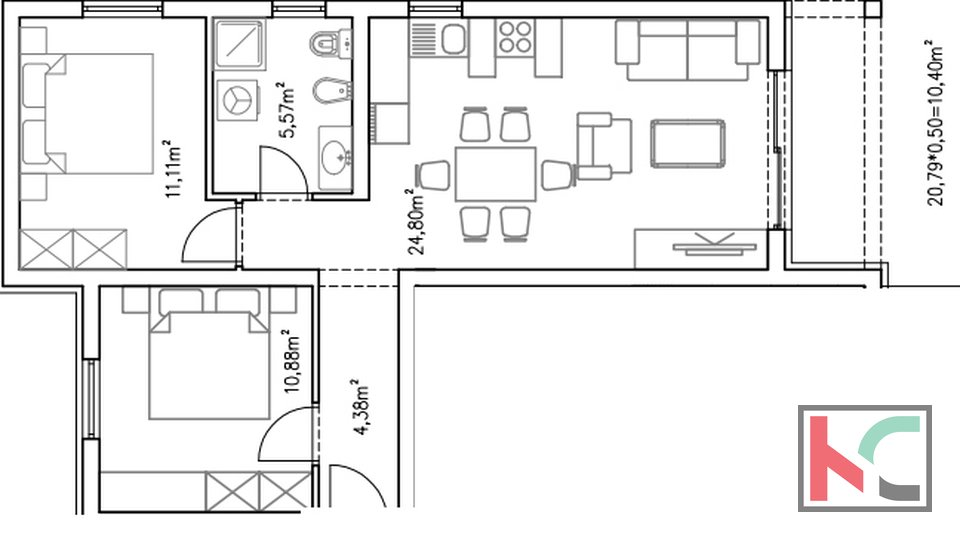 Istria, Barbariga, apartment 67,14 m2 in a new building